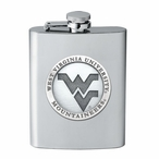 West Virginia Mountaineers Logo Stainless Steel Flask w/ Pewter Accent