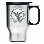 West Virginia Mountaineers Logo Travel Mug with Handle & Pewter Accent