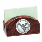 West Virginia Mountaineers Logo Wood Business Card Holder with Pewter