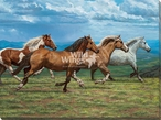 Windswept Running Horses Wrapped Canvas Giclee Art Print Wall Art