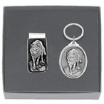 Wolf Money Clip & Key Chain Gift Set with Pewter Accents