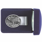 Wolf Oval Steel Money Clip with Pewter Accent