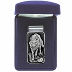 Wolf Steel Money Clip with Pewter Accent
