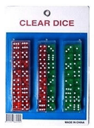 Dice Assorted Clear Color 24/crd