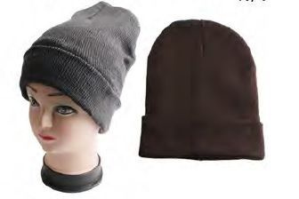 Men Ski Hat Dark Colors Assorted w/Fur Lining 12/bx