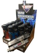 Victory Triple 3 Torch Ltr w/Cigar Hole Puncher 12/bx