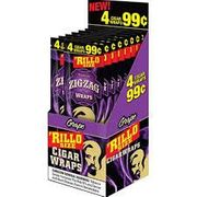 ZigZag Cigarillo Wraps 15/bx pp 4 for $99c Grape