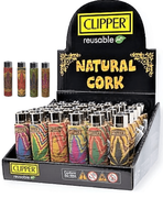 Clipper Raw Logo Cork Leaves Lighters 30/ct