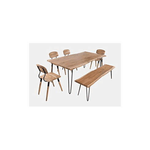 """Nature's Edge 79"""" Dining Table with 4 Chairs and Bench"""