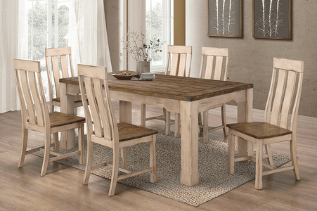 Rustic Antique White Table Set #3030 out of stock