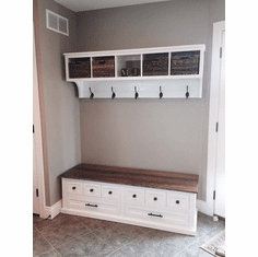 Entryway Shoe Bench and Cubby storage Wall Unit