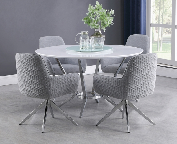 Abby 5-Pc White/Light Grey/Chrome Dining Table Set by Coaster