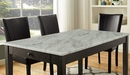 Abia White Faux Marble/Black Wood Dining Table by Furniture of America