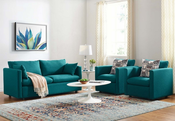 Activate 3-Pc Teal Fabric Sofa Set by Modway