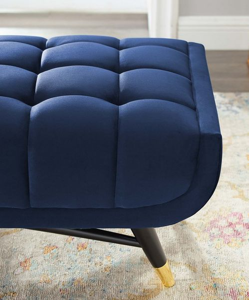 """Adept Midnight Blue Performance Velvet Tufted 60"""" Bench by Modway"""