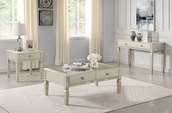 Adina Silver Wood/Glass End Table by Furniture of America