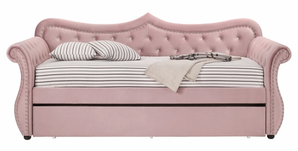 Adkins Pink Velvet Button Tufted Twin Daybed by Acme