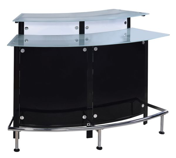 Afina Contemporary Frosted Glass/Black Acrylic Bar Unit by Coaster