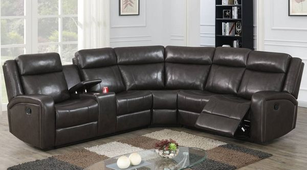 Agatha 3-Pc Dark Brown Power Recliner Sectional Sofa by Poundex