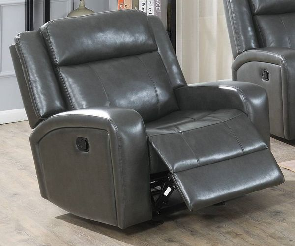 Agatha Grey Gel Leatherette Power Recliner by Poundex