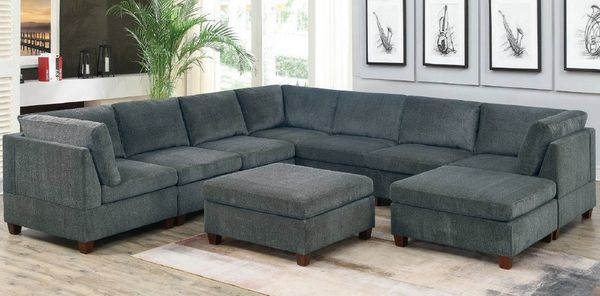 Agnes Gray Chenille Modular Sectional Sofa with 2 Ottomans by Poundex
