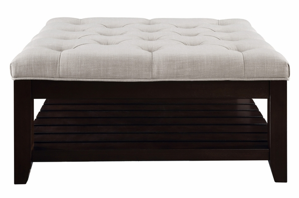 Aizen Beige Fabric/Espresso Wood Cocktail Ottoman with Shelf by Acme