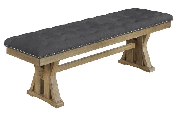 Alba Gray Fabric/Rustic Oak Dining Bench by Best Quality Furniture