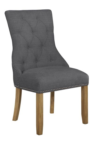 Alba Gray Linen Fabric/Rustic Oak Side Chair by Best Quality Furniture