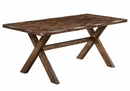 Alston 7-Pc Knotty Nutmeg Wood/Grey Fabric Dining Table Set by Coaster