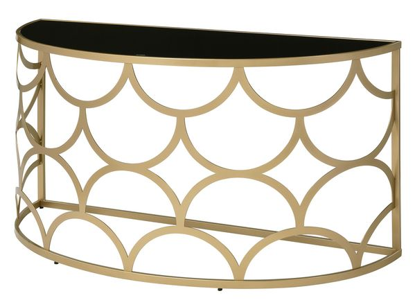 Altus Glass/Gold Finish Metal Console Table by Acme