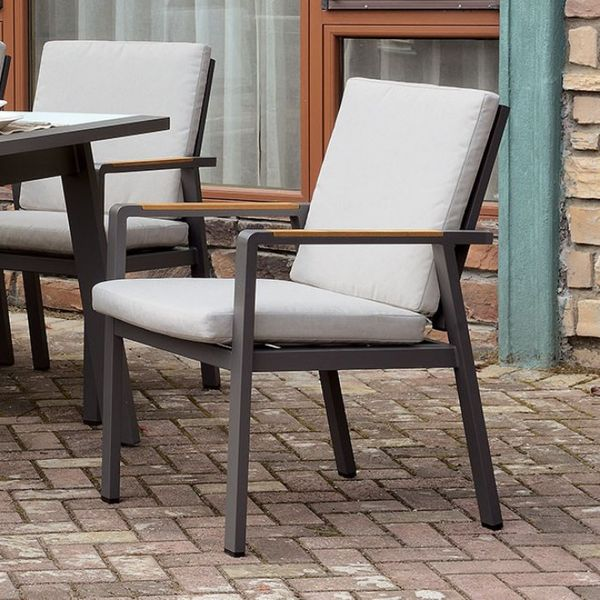 Alycia Beige Fabric/Gray Metal Patio Arm Chair by Furniture of America