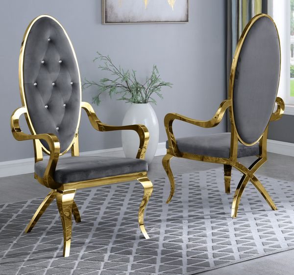 Alyse 2 Gray Velvet Fabric/Gold Arm Chairs by Best Quality Furniture