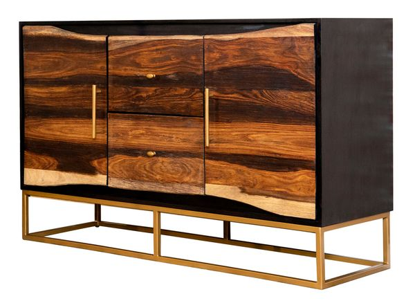 Amata Black Walnut Wood/Gold Finish Metal Accent Cabinet by Coaster