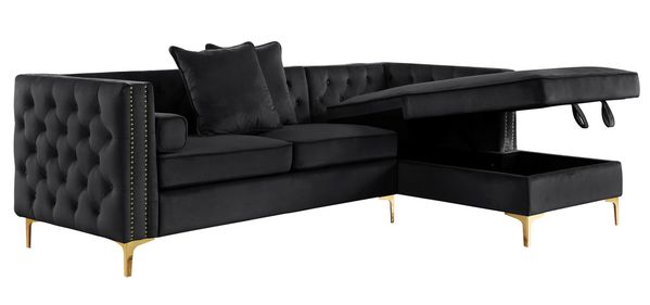 Amberly 2-Pc Black Fabric RAF Sectional by Best Quality Furniture