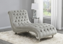 Amelie Grey Velvet Button Tufted Chaise by Coaster