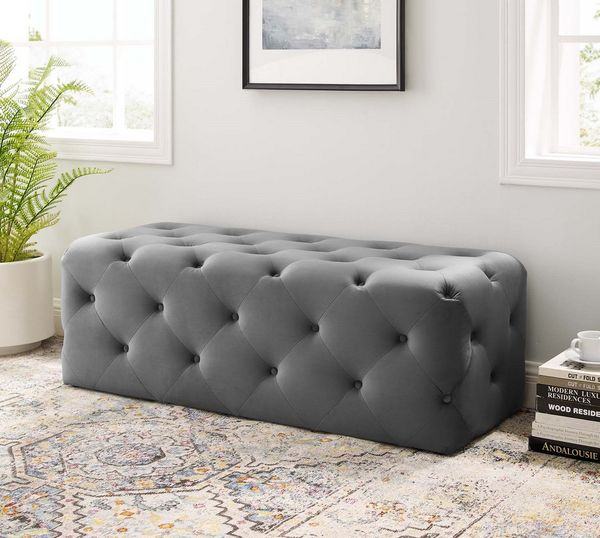"""Amour Gray Performance Velvet 48"""" Entryway Bench by Modway"""