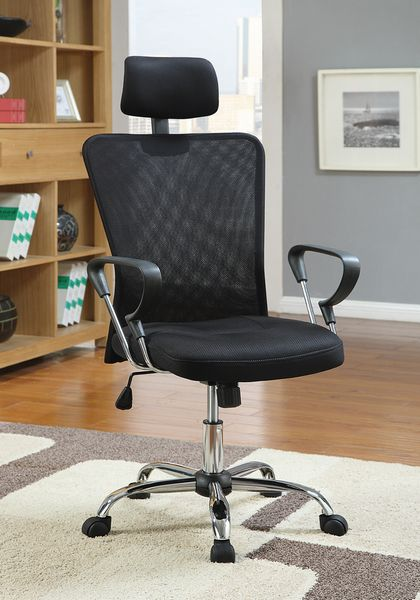 Andreina Black Mesh/Chrome Metal Adjustable Office Chair by Coaster