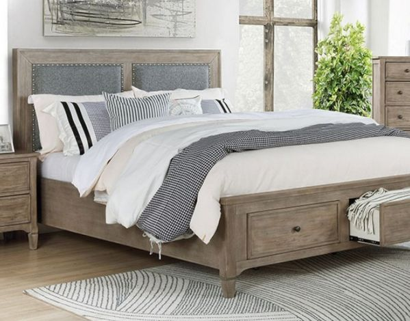 Anneke Wire-Brushed Warm Gray Wood King Bed by Furniture of America
