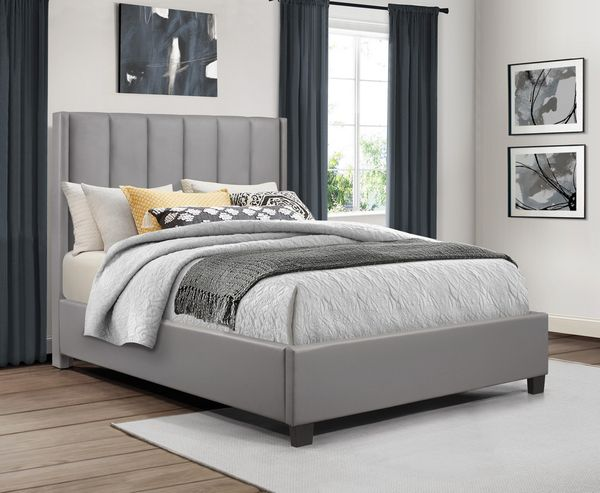 Anson Gray Faux Leather Queen Platform Bed by Homelegance