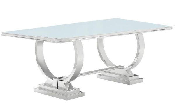 Antoine White Glass/Chrome Metal Dining Table (Oversized) by Coaster
