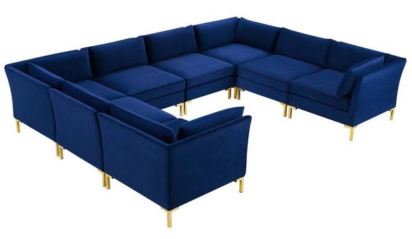Ardent 8-Pc Navy Performance Velvet Modular Sectional Sofa by Modway