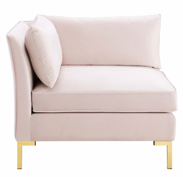 Ardent Pink Velvet Modular Sectional Sofa with Ottoman by Modway