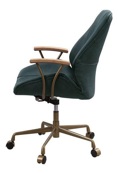 Argrio Dark Green Top Grain Leather Office Chair by Acme