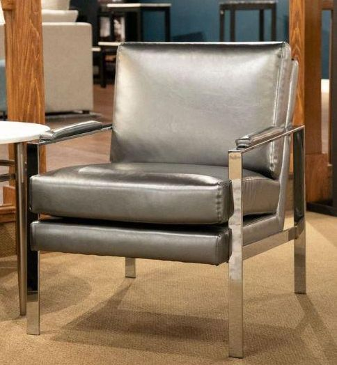 Ariah Steel Grey Leatherette/Chrome Metal Accent Chair by Coaster