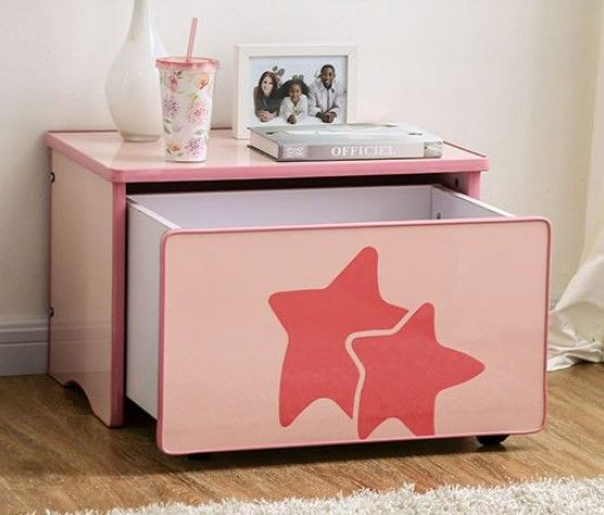Arianna Pink High Gloss Wood Toy Box by Furniture of America