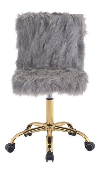 Arundell Gray Faux Fur/Gold Finish Office Chair by Acme