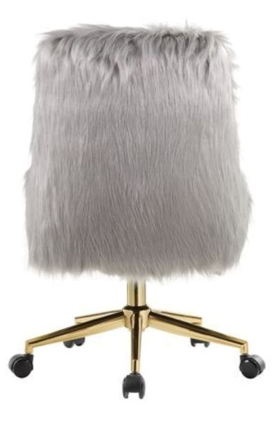 Arundell Gray Faux Fur/Gold Office Chair by Acme