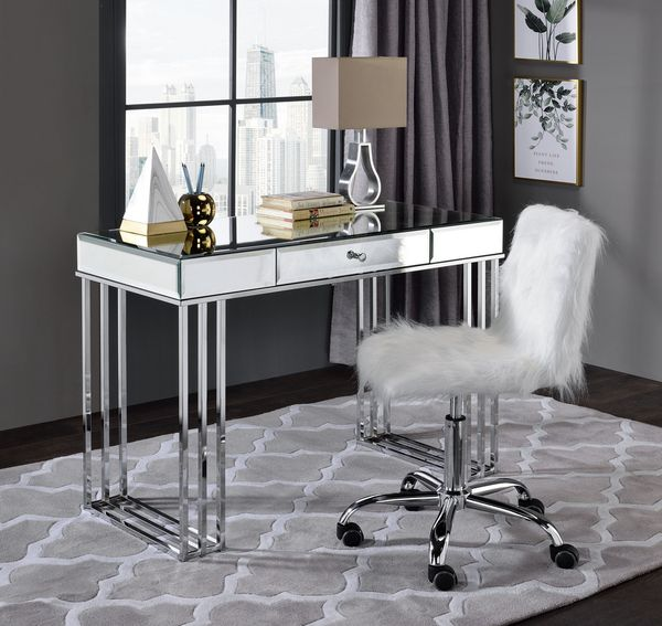 Arundell White Faux Fur/Chrome Finish Office Chair by Acme