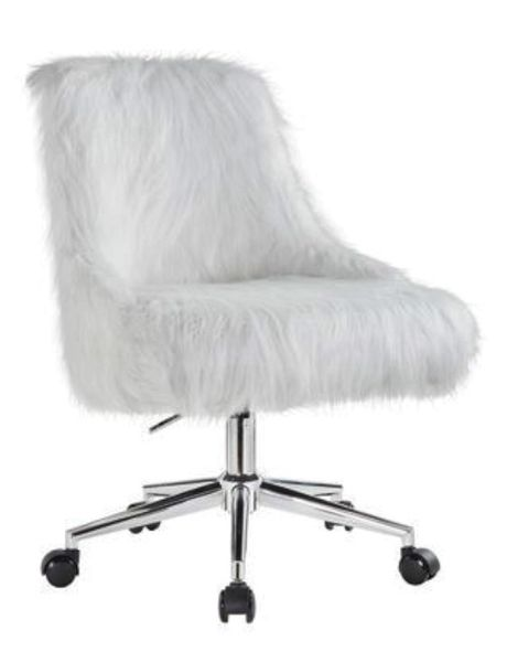 Arundell White Faux Fur/Chrome Office Chair by Acme