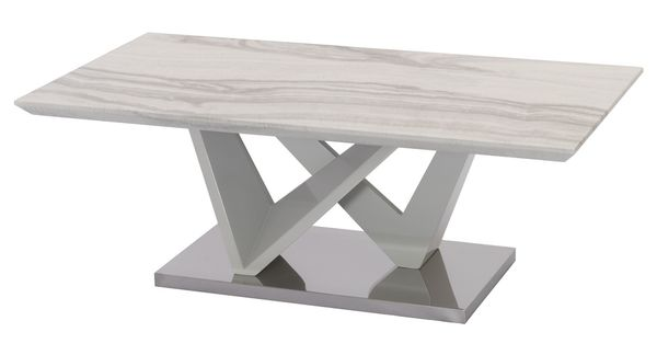 Asha White Faux Marble/Metal Coffee Table by Best Quality Furniture